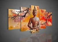Framed 5 Panel Wall Art Religion Buddha, Pure Hand Painted Mo...