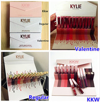 DROP SHIP Prix usine Kylie Cosmetics Kylie Rouge à lèvres 12pcs kit 3style en option Valentine standard KKW beauty set Rouge liquides