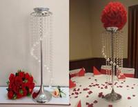 Lyxig långhängande akrylpärla kristallbröllopsblomma stativ mittpieces på försäljning
