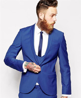 Wholesale- Maß Royal Blue Men Suit Männer tux klassischer Bräutigam Smoking Blazer Männer Prom Herren Tux Bräutigam (Jacket + Pant + Vest + Tie)
