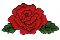 Güzel 100% Nakış Kırmızı GÜL Çiçek Nakış Demir On Giyim Yama DIY Aplike Yama Karikatür Rozeti G0441 Ücretsiz Kargo
