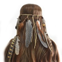 idealway Handmade Leather Rope Brown Feather Headbands Wood Beads Boho Hair Accessories Fashion Jewelry