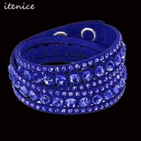 Wholesale- Rhinestone Leather Bracelet Handmade Bracelet with...