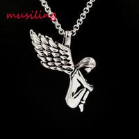 Anjo Asa de Aço Inoxidável Pingentes Cadeia Colar de Pingente Encantos Reiki Amuleto Moda Encantos Mulheres Mens Jóias