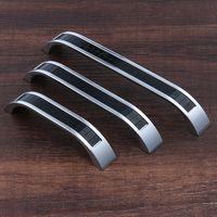2017 yeni Gümüş Siyah cam kapı topuzu dolap kolları mutfak çeker çinko alaşım pitch ile satır çeker 96 128 160mm # 370