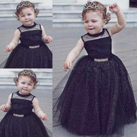 Cute Black Baby Girl Pageant Gowns Sparkly Sleeveless Flower...