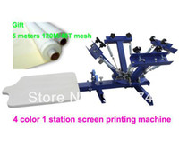 خصم مع GIFT 4-1 لون الشاشة الحريرية آلة الطباعة التي شيرت طابعة الصحافة معدات كاروسيل 48T شبكة سريع شحن مجاني