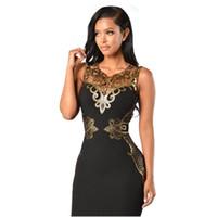 Женщины Бальные платья лето Черное золото пришивания Bodycon платье Sexy V-образным вырезом без рукавов оболочки клуб Midi платье для женщин