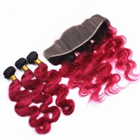 Ombre #1B Red Body Wave Virgin Human Hair Bundles With Ear T...