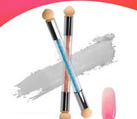C005 Neueste 1 STÜCK Doppelkopf Schwamm Blühende Nagel Stift Zeichnung Und Punktierung der UV Led Nagellack Waschbar Therapie Maniküre Werkzeug