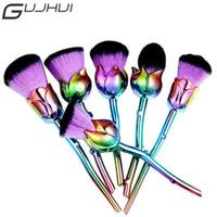 6 unids / set / lote Pinceles de Maquillaje Profesional Conjunto Forma de Flor Multicolores Fundación Eyeshadow Corrector En Polvo Cepillos Herramienta de cosméticos
