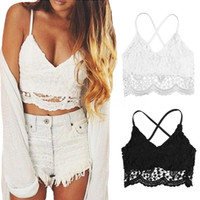 Wholesale- Women Crop Top Knitted Crochet Lace Flower Spaghetti Straps Short Exposed Camis Camisole Women's Clothing