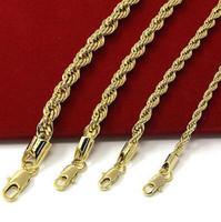 Erkek 14 k Sarı Altın Kaplama Genişliği 3 4 5 6mm Fransız Halat Link Zinciri Kolye