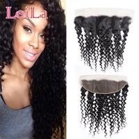 Peru Virgin cabelo humano onda profunda Curly 13 X 4 Lace frontal com o cabelo do bebê 50-80 / g Pré arrancada onda profunda Lace frontal