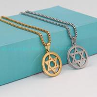 Judaísmo Jóias de Prata / Ouro Hexagrama Moda em aço Inoxidável estrela de David Pingente de Colar de Corrente de Caixa Homens