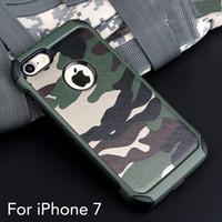 Coque pour iPhone 7/7 plus armure hybride 2in1 en plastique + TPU armée camouflage arrière avec couverture antichoc spéciale pour téléphone
