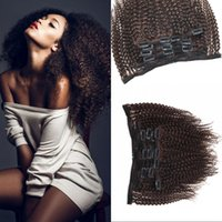 Afro Kinky Curly Clip In Human Hair Extensions Medium Brown ...