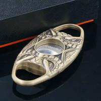 COHIBA Qualität Schlange Gesicht Tasche Antik Kupfer Antik Bronze Sharp Doppelklingen-Taschen-Zigarrenschneider Tragbares Goldene und Sliver Farbe