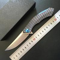 Shirogorov Poluchetkiy Jabalí anodizado titanio D2 acampar al aire libre supervivencia táctica plegable bolsillo cuchillo teniendo herramientas