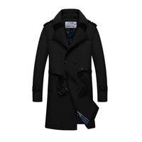 All'ingrosso-nuovo autunno e inverno modello slim maschile doppio petto trench abbottonatura parka con cintura casual business outwear