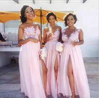 Long Light Pink Bridesmaid Dresses 2017 Sexy Side Split Chif...