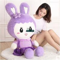 Dorimytrader Schöne Große 120 cm Weiche Cartoon Bunny Plüschtier 47 zoll Gefüllte Anime Kaninchen Puppe Kissen Liebhaber Mädchen Geschenk DY61594