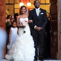 Сказочный 2017 пользовательский на заказ арабские свадебные платья русалка юбка органзы сексуальная без спинки возлюбленная свадьба формальные свадебные платья плюс размер новый