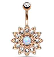 Bonne qualité Exquise fleur bijou diamant nombril cloche anneaux dorure le corps de bijoux piercing populaires trois couleurs