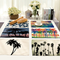 Vente en gros- Linge de coton Western Table Mats 42cm x 32cm Tropical Palm Tree Imprimer Table de salle à manger Pad Napperon Isolation Coasters