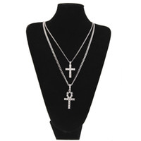 Egyptian Ankh With Cross Pendant Necklace Set Rhinestone Cry...