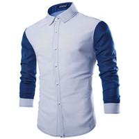 Toptan Satış - Erkekler Slim Fit Gömlekler Ünlü İş Casual Uzun Kollu Fomal Gömlek En Yeni