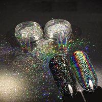 NEUES 2pcs 0.2g Chamäleon-holographisches Nagel-Kunst-Pulver-Einhorn-magisches Spiegel-Chrom-Funkeln-Pulver für Nagel neigt Dekoration