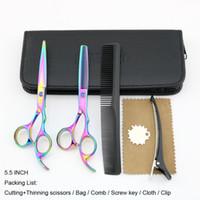 Tesoura de cabelo 5.5 POLEGADA Tesoura de cabeleireiro Arco-íris Tesoura de cabelo Tesoura de desbaste Cabelo pedra azul Lyrebird NOVO