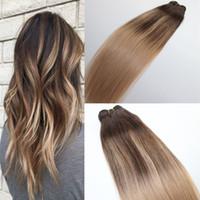 # 4 # 18 인간의 머리카락 묶음 번들 브라질 버진 인간의 머리 Wefts Ombre Balayage 하이라이트 염료 색상