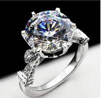 جديد 925 فضة 18k الذهب الأبيض مطلية بالذهب 4CT NSCD الاصطناعية الماس المرأة خاتم الزفاف الكلاسيكية مجوهرات الخطبة نمط الديوان الملكي