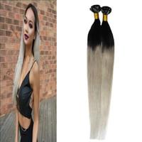 T1B / 은색 회색 머리카락 확장 100s 인간의 머리카락 융합 확장 u 팁 100g 스트레이트 pre 결합 ombre 머리카락 확장 각질