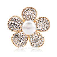 Broches de fleur de cristaux de diamant de luxe de luxe