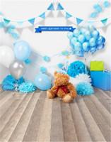 Yenidoğan Bebek Doğum Günü Fotoğraf Backdrop Mavi Balonlar Teddy Bear Ahşap Zemin Fotoğraf Arka Plan Parti Stüdyosu Photobooth Prop