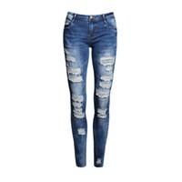 All'ingrosso- Boyfriend Jeans Donna Pantaloni a matita Pantaloni donna Casual Stretch Skinny Jeans Donna a vita alta con fori elastici Pant Moda 2016