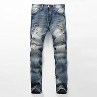Toptan-Moda Punk Kaya Yırtık Kot Erkekler Için Vintage Ince Moto Biker Jeans Homme Erkek Sıkıntılı Denim Pantolon