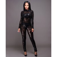 Black Apricot Sequined Jumpsuit Autumn Women Overalls Mesh S...