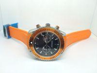 새로운 유행 남자 시계 석영 석영 스톱워치 오렌지 베젤 스테인레스 스틸 손목 시계 고무 밴드 (313) 시계