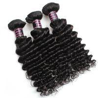 ISHOW Wholesale Price 8Aブラジルの深いウェーブバージンWefts Extensionsペルーの髪のバンドル3個/ロトのためのすべての年齢の自然な黒8-28インチ