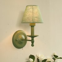 Nordic American Fabric Wall Lamp Countryside Bedroom Wall Sc...
