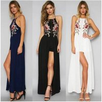 Embroidery sleeveless Bohemian beach maxi dresses floral pri...
