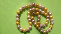 Yeni Güzel İnci Takı 18 inç 8-9mm Akoya Doğal pembe mor altın İnciler Kolye 14 K