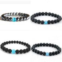 En gros Nouveau Mode charme unisexe Yoga bracelets Pierre de lave naturelle bracelet perlé Chanceux Cadeau Bijoux livraison gratuite