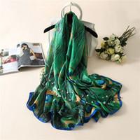 Neue Silk Schals Frauen Lurxury Marke Druck Pfau Federn Seide Foulard Schal schal wraps zubehör 2017