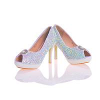 2017 Date Designer Élégant AB Cristal Peep Toe Discothèque Strass Avec Blanc Perles De Mariée De Mariage Chaussures Handmake Stiletto Femmes Chaussures