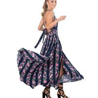 Embroidery cotton halter backless sexy dress Women Spring summer evening long beach dress Party elegant black vintage dress 2017